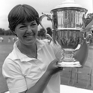 Pat Bradley, of Marco Island, Fla., displays her trophy after winning the U.S. Women's Open Sunday, July 26, 1981, in La Grange, Ill. Bradley fired a course record 66 on the final round to win the tournament by one stroke with a four round total of 279.