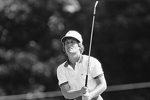Patty Sheehan watches her tee shot at the Cedar Ridge Country Club during the opening round of the 31st U.S. Women's Open, Friday, July 30, 1983, Tulsa, Ok. Sheehan shot an even par 71 and tied with Betsy King for the first round lead.