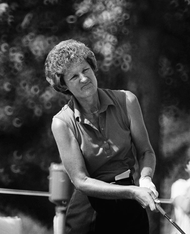 Golfer Kathy Whitworth watches the flight of her sixth tee shot during practice rounds at Cedar Ridge Country Club, July 27, 1983, Tulsa, Ok. Whitworth, the winningest women's golfer in history, has never captured the US Women's Open title.