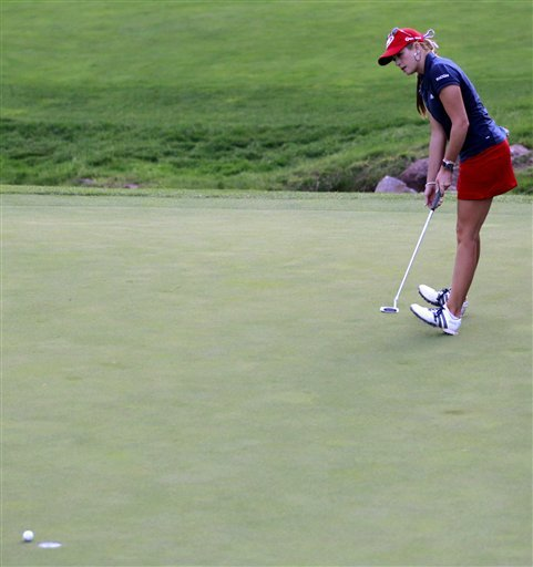 Paula Creamer falls back on her heels as she fails to sink a putt on the 18th hole in a loss to Angela Stanford during a quarterfinal match in the LPGA Sybase Match Play Championship at Hamilton Farm GC, Saturday, May 21, 2011 in Gladstone, N.J.