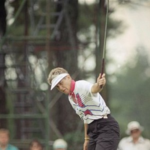 Patty Sheehan waves her ball toward the hole on the eighth green of the Atlanta Athletic Club, July 14, 1990 in Duluth, Ga. The wave worked as the ball sunk giving her a birdie on the three par. She, and many other players, in the U.S. Women's Open played their second round on Saturday as rain washed most of Friday's play out. She has the 36 hole lead at 10-under par.