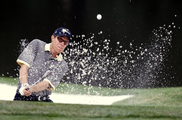 Nick O'Hern, of Australia, hits from the sand to the second green in his Presidents Cup singles match against Davis Love III, of the United States, Sunday, Sept. 25, 2005, at the Robert Trent Jones Golf Club in Gainesville, Va.