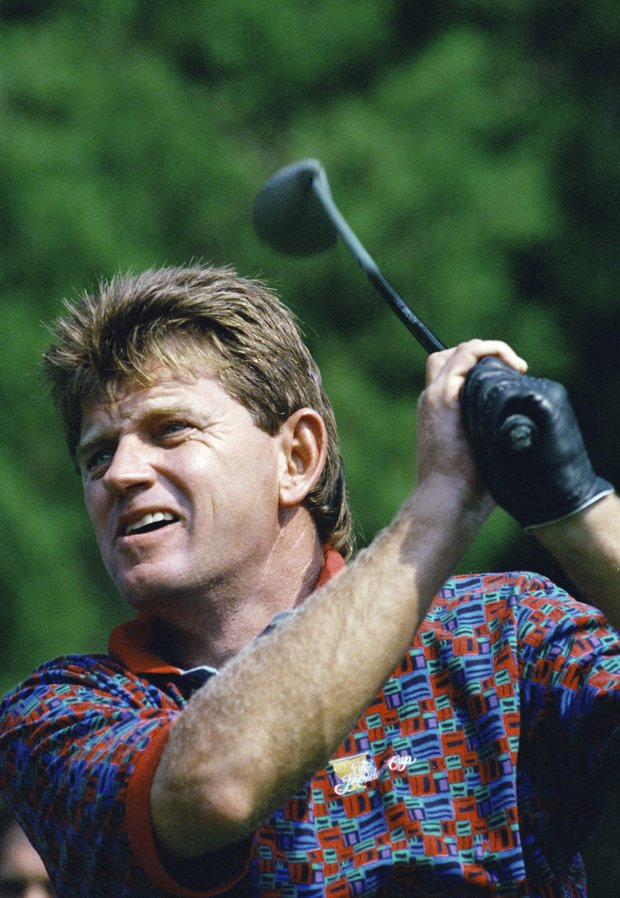 South African golfer Nick Price tees off during a practice round for Friday's Presidents Cup Golf tournament, at the Robert Trent Jose Golf Club in Gainesville, VA., on Wednesday, Sept. 14, 1994. Price lead an international team against a U.S. Team in the match play tournament.