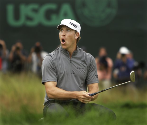 Ricky Barnes reacts after missing a putt on the 18th green during the final round of the U.S. Open Golf Championship at Bethpage State Park's Black Course in Farmingdale, N.Y., Monday, June 22, 2009.