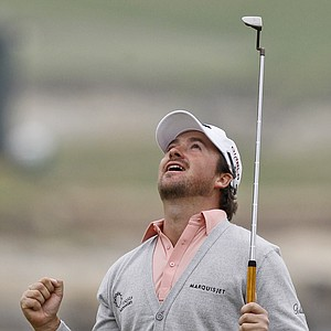 Graeme McDowell of Northern Ireland reacts on the 18th green after winning the U.S. Open golf tournament Sunday, June 20, 2010, at the Pebble Beach Golf Links in Pebble Beach, Calif.