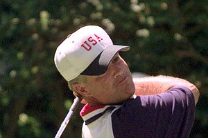 John Harris, playing for the United States, watches his tee shot on the first hole during his match in the 1997 Walker Cup Saturday, Aug. 9. 1997 at the Quaker Ridge Golf Club in Scarsdale, N.Y.
