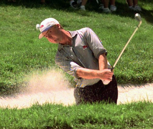 Steven Young, playing for Great Britian/Ireland, hits out of a sand trap on the first hole of his 1997 Walker Cup match, Saturday, Aug. 9, 1997 at the Quaker Ridge Golf Club in Scarsdale, N.Y.