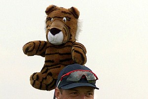"England's Gary Wolstenholme uses a ""tiger"" head cover on his club during final practice for the Walker Cup in Nairn, Scotland, Friday, September 10, 1999. Wolstenholme beat Tiger Woods in the Walker Cup (4 & 3) competition in 1995. The Walker Cup is a biennial amateur golf competition between the United States and a Great Britain and Ireland team."