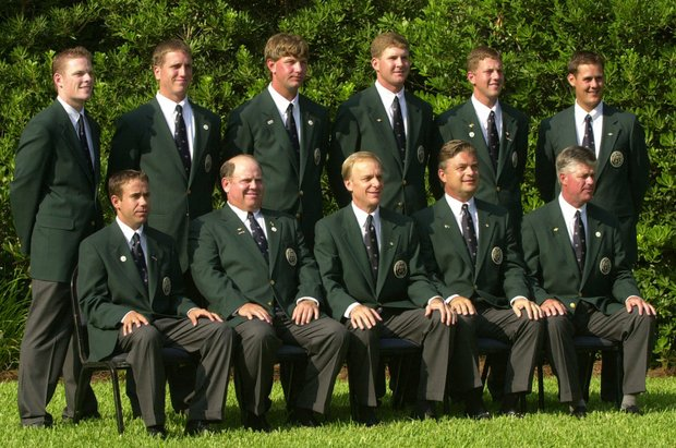 Members of the United States Walker Cup team pose by their cabin on Sea Island, Ga., before the start of opening ceremonies Friday, Aug. 10, 2001. Back row left-right, James Driscoll, Nick Cassini, Lucas Glover, D.J. Trahan, Bryce Molder, Jeff Quinney, Front Row, left to right, Erik Compton, Danny Green, Danny Yates, Captain, David Eger, and John Harris. The ceremonies were delayed due to weather.