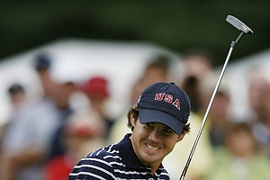 Brian Harman of Savannah, Ga. reacts to his putt on the second hole during the pairs round of the Walker Cup golf tournament against Great Britain and Ireland at the Merion Golf Club, Saturday, Sept. 12, 2009, in Ardmore, Pa.