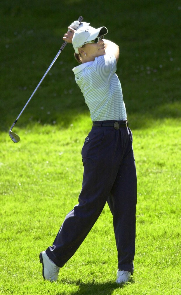 Sweden's Annika Sorenstam watches her drive during the first round of the Evian Masters played in Evian, eastern France, Wednesday June 12, 2002.