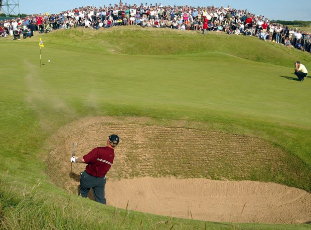 South Africa's Ernie Els plays out of a bunker on the 13th hole during the final round of the British Open Golf Championship at Muirfield golf course in Scotland Sunday July 21, 2002.