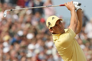 Spain's Sergio Garcia plays from the 9th tee during the final round of the British Open Golf Championship at the Royal Liverpool Golf Course in Hoylake, England Sunday July 23, 2006.