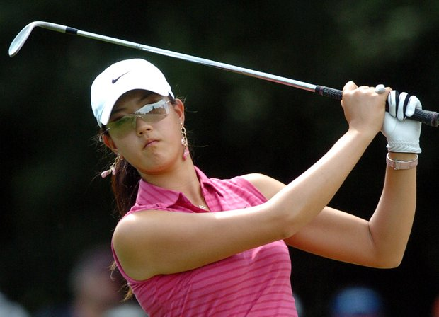Michelle Wie of the US plays the 15th hole, during the final day of the Evian Masters women's golf tournament in Evian, eastern France, Saturday, July 29, 2006. Karrie Webb of Australia won the tournament.
