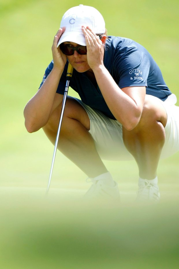 Sophie Gustafson of Sweden studies the ball during the final of the 2007 Evian Masters golf tournament as part of the LPGA Championship, at Evian Royal Resort Golf Club, in Evian, France, Sunday, 29 July 2007.