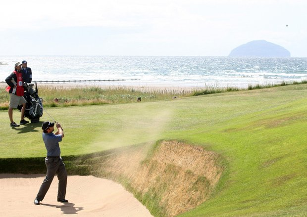 Australia's Matthew Goggin plays out of a bunker during the fourth round round of the British Open Golf Championship at Turnberry Golf Club, Turnberry, Scotland Sunday July 19, 2009.