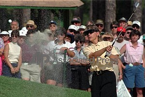 Annika Sorenstam hits from a sand trap to the 14th green before winning the 1996 U.S. Women's Open at Pine Needles Lodge and GC in Southern Pines, N.C., Sunday, June 2, 1996.