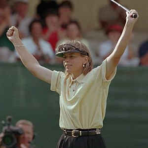 Annika Sorenstam raises her arms after making her last putt to win the 1996 U.S. Women's Open at Pine Needles Lodge and GC in Southern Pines, N.C., Sunday, June 2, 1996.