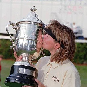 Annika Sorenstam kisses the U.S. Women's Open trophy after she won the Open in Southern Pines, N.C. on Sunday June 2, 1996.