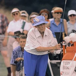 Patty Berg, 81, a founding member of the LPGA, conducts a golfing clinic at the U.S. Women's Open Championship at West Point, Miss., Wednesday, June 2, 1999.