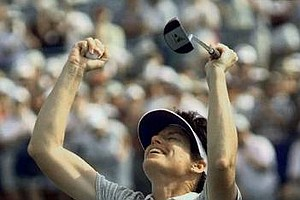 Juli Inkster celebrates her U.S. Women's Open Championship, on June 6, 1999 in West Point, Miss., after her putt rolls into No 18 for par. Inkster finished at 16 under par for 72 holes.