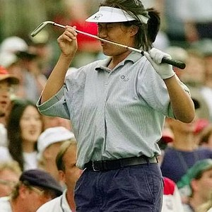 Amatuer Jenny Chuasiriporn reacts after hitting a poor chip shot at the 18th hole during the playoff round of the U.S. Women's Open Monday, July 6, 1998, in Kohler, Wis. Se Ri Pak went on to win the championship on the second sudden death playoff hole.