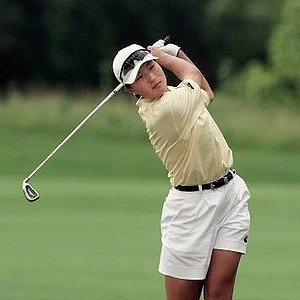 Se Ri Pak of South Korea twists as she watches her fairway shot fly from the rim of a bunker on 10th hole during the second round of the U.S. Women's Open at Blackwolf Run Friday, July 3, 1998, in Kohler, Wis.