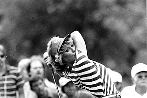 Golfer Jan Stephenson drives the ball on the 18th hole during the final round of the U.S. Women's Open at Cedar Ridge Country Club in Tulsa, Okla., on July 31, 1983.