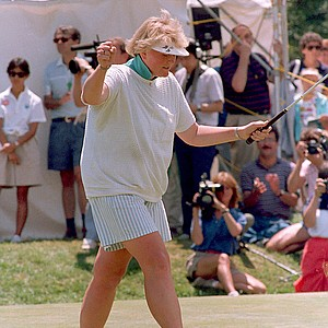 British Women's Open champion Laura Davies of West Byfleet, England, cheers after winning the U.S. Women's Open at the Plainfield Country Club in Edison, N.J., on July 28, 1987. Davies beat Ayako Okamoto of Japan and JoAnne Carner in a 18-hole playoff.