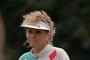 Jan Stephenson of Fort Worth ,Texas, grimaces July 21, 1988 as she missed a putt on the 9th hole during the first round of the U.S. Women's Open Golf Championship at Baltimore Country Club.