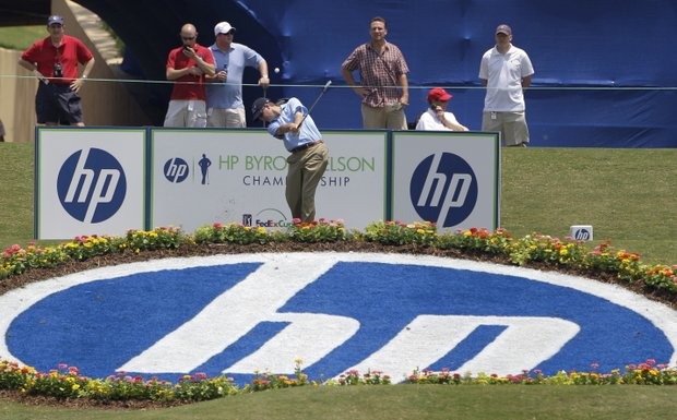 Joe Ogilvie tees off at the 17th hole during the second round of the Byron Nelson Championship.