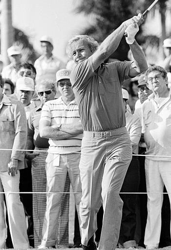 Sept. 14, 1986 - Greg Norman keeps his eye on the ball after his shot from number 5 tee during third round play of the Masters Tournament at Augusta, Ga., April 11, 1987.