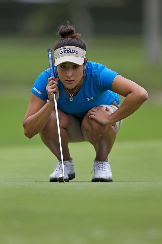 Mariajo Uribe of Colombia reads a putt in the final round of the HSBC LPGA Brazil Cup in Rio de Janeiro, Brazil, Sunday May 29, 2011. Uribe won the two-round event defeating Lindsey Wright by a stroke.