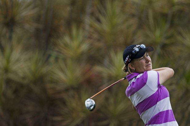 Lindsey Wright of Australia competes in the final round of the HSBC LPGA Brazil Cup in Rio de Janeiro, Brazil, Sunday May 29, 2011. Mariajo Uribe of Colombia won the two-round event defeating Wright by a stroke.