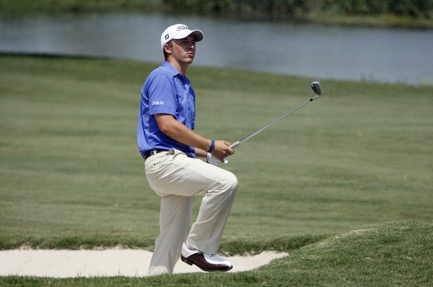 Jordan Spieth, of Dallas, watches his shot on the fourth hole during the third round of the Byron Nelson Championship golf tournament, Saturday, May 28, 2011, in Irving, Texas. The 17-year-old amateur started his day playing golf before his high school graduation ceremony later in the day.