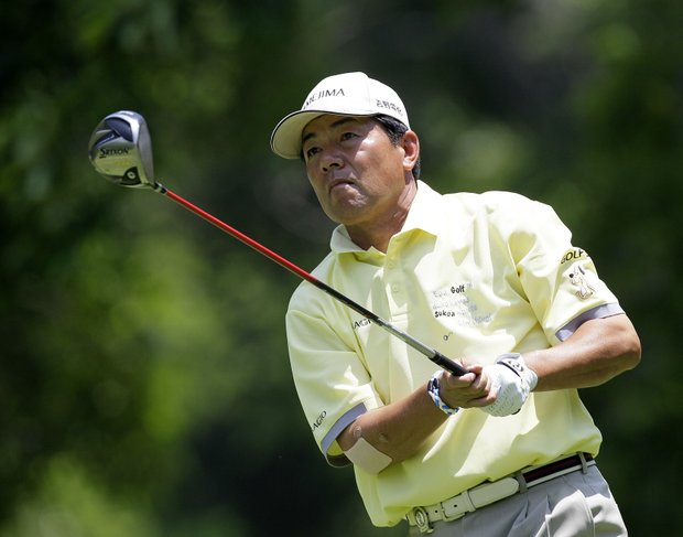 Kiyoshi Murota, of Japan, watches his tee shot on the second hole during the final round of the Senior PGA Championship golf tournament at Valhalla Golf Club in Louisville, Ky., Sunday, May 29, 2011.