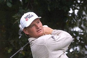 May 17/April 12, 1998 - South Africa's Ernie Els watches his shot after teeing off during a practice round for the Match Play Championship at Wentworth GC, England Tuesday, October 13, 1998.