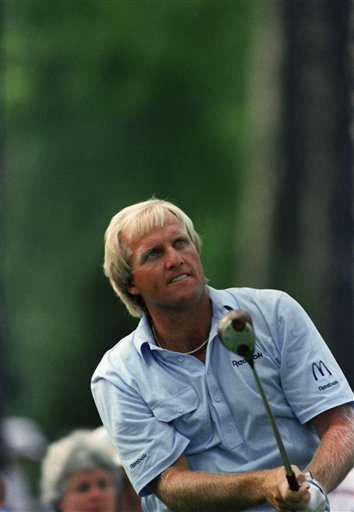 March 26, 1989 - Greg Norman watches his shot during practice for the Masters at the Augusta National Golf Club in Augusta, Georgia on Monday, April 4, 1989.