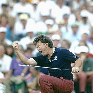 April 7, 1991 - Ian Woosnam from Wales, reacts to his putt for par on the 18th green, to win the 1991 Masters, at the Augusta National GC, on April 14, 1991.