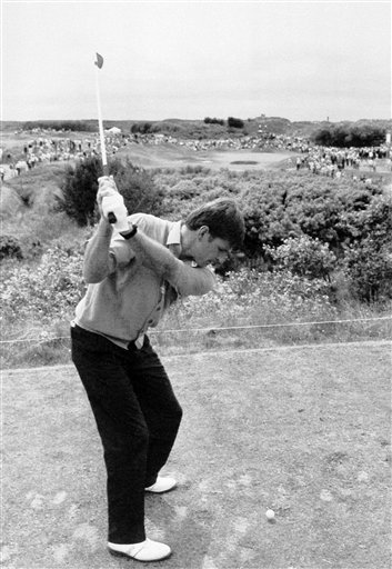 Feb. 3, 1991 - Britian's Nick Faldo swings to blast off from the seventh tee over the sand dunes and scrub on the Royal Birkdale course, Southport, England Wednesday, July 17, 1991. Faldo was preparing for defending his Open title on the course Thursday when this year's competition starts.