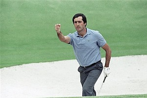 April 2, 1989 - Seve Ballesteros, of Spain, reacts after chipping into the hole on the second hole during final round play of the Masters at the Augusta National Golf Club in Augusta, Georgia, April 9, 1989. Ballesteros' charge put him as one of the early leaders.