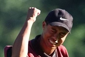 Aug. 15, 1999 - Tiger Woods celebrates after winning the 81st PGA Championship at the Medinah Country Club in Medinah, Ill., on Sunday, Aug. 15, 1999. Woods would claim the world's No. 1 golfer ranking and hold it for 264 consecutive weeks.