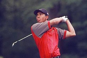 May 10, 1998 - Tiger Woods hits from the fairway on the 2nd hole during the final round of the BellSouth Classic in Duluth, Ga., Sunday, May 10, 1998. Woods, who had not won a tournament in the last ten months, shot a 72 to beat Jay Don Blake by one stroke.