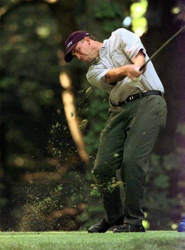 April 20, 1997 - Tom Lehman hits from the twelfth fairway during the final round of the U.S. Open Sunday, June 15, 1997, at the Congressional CC in Bethesda, Md.