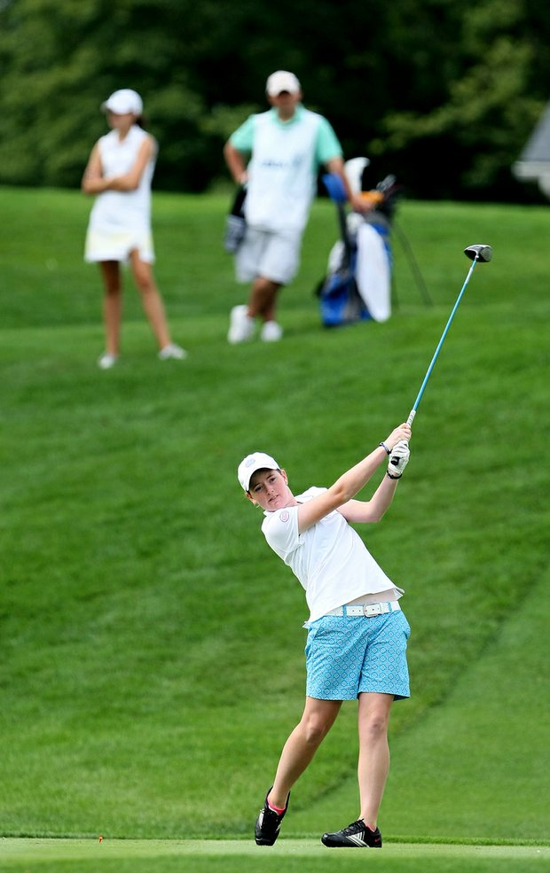 Casey Grice tees off at No. 1 during Wednesday match play of the 61st U. S. Girls' Junior Championship at Trump National Golf Club in Bedminster, New Jersey.