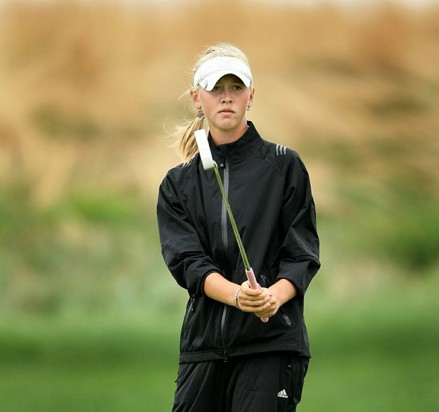 Jessica Korda during Thursday match play of the 61st U. S. Girls' Junior Championship at Trump National Golf Club in Bedminster, New Jersey.