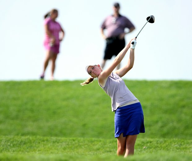 Amy Anderson hits her tee shot at no. 18 during Friday semifinal match play of the 61st U. S. Girls' Junior Championship at Trump National Golf Club in Bedminster, New Jersey.