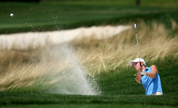 Amy Anderson blasts out of a greenside bunker at no. 6 during the afternoon round of Saturday's final of the 61st U. S. Girls' Junior Championship at Trump National Golf Club in Bedminster, New Jersey.
