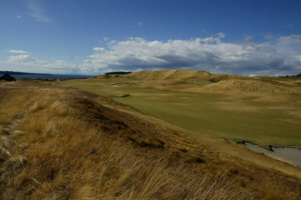 The 18th fairway at the 110th U.S. Amateur Championship at Chambers Bay in University Place, WA.