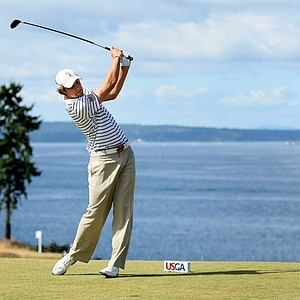 Peter Uihlein hits his tee shot at No. 12 during semi finals of the 110th U.S. Amateur Championship at Chambers Bay in University Place, Wash.